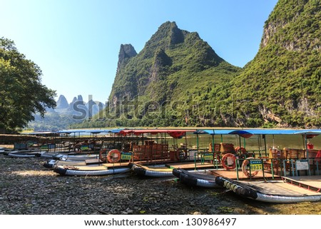 Tourist boats on the Li river in South China