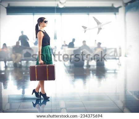 Tourist class to the airport for trip - stock photo