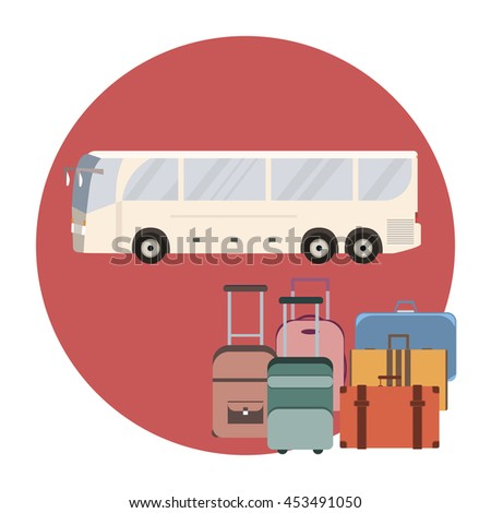 Tourist coach bus concept. Travel bus and luggage banner.
