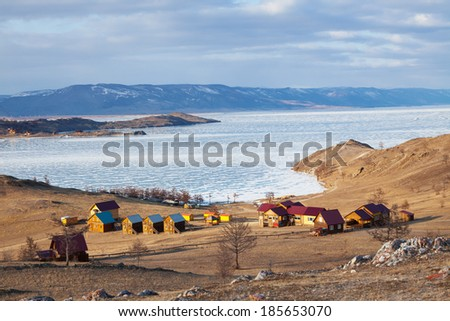 Tourist complex on the shores of Lake Baikal near the Small Sea - stock photo