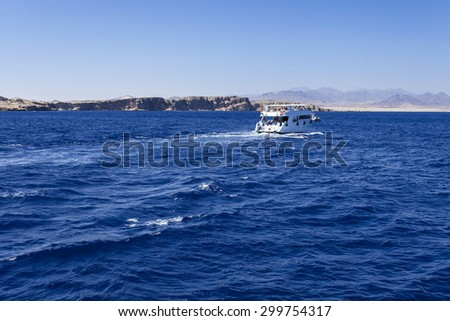 Tourist cruise boat in Red Sea in Egypt.