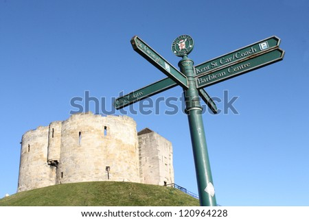 Tourist directional sign in front of Clifford's Tower, York, England