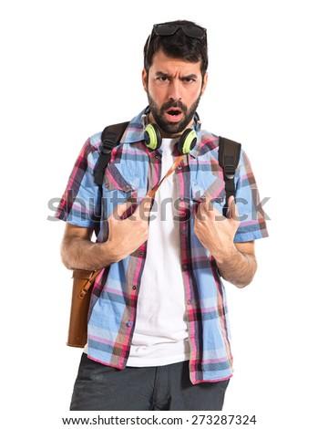 Tourist doing surprise gesture  - stock photo