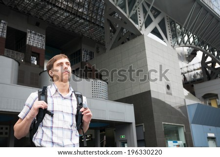 Tourist from Europe in Kyoto Station in Kyoto, Japan. - stock photo