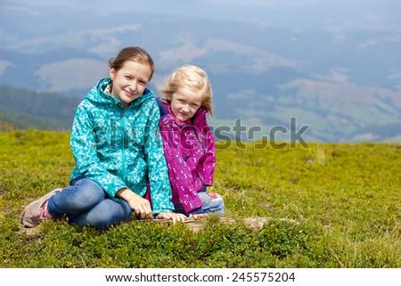 tourist girl and mountain views  - stock photo