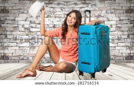 Tourist, holiday, girl. - stock photo