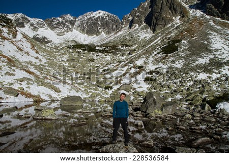 Tourist in Tatra Mountain, Slovakia - stock photo