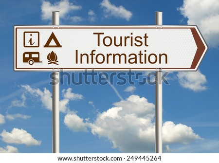 Tourist information. Road sign on a background of blue sky with clouds. Raster. - stock photo