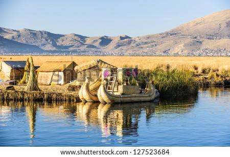 Tourist Islands of lake Titicaca, Puno, Peru South America - stock photo