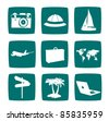 Tourist items icon set in two colors - stock photo