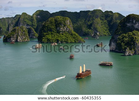 Tourist Junks in Halong Bay, Vietnam. - stock photo