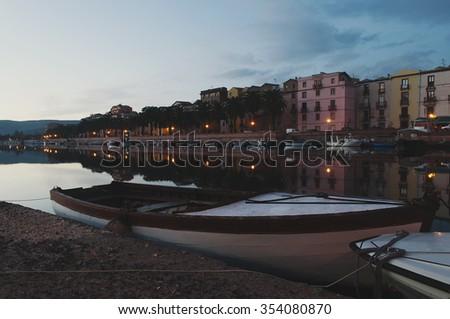 Tourist medieval town Bosa in Sardinia, selective focus - stock photo
