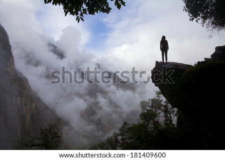 tourist near Machu Picchu - Peru - stock photo