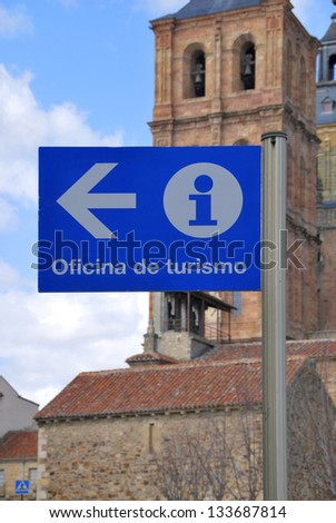 Tourist office sign in blue. Astorga, Le�³n, Castilla y Le�³n, Spain - stock photo