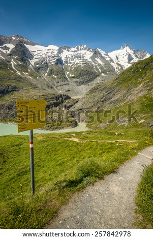 Tourist paths directions in Austrian Alps, High Tauern National Park.