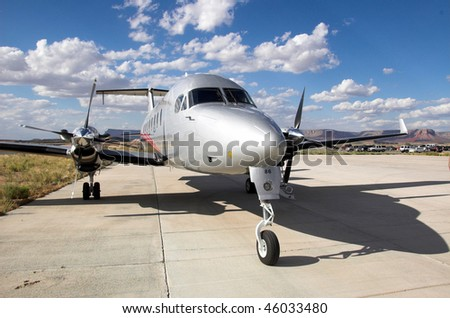 Tourist plane waiting for passengers at the Grand Canyon. - stock photo