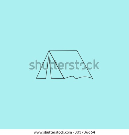 Tourist tent. Outline simple flat icon isolated on blue background