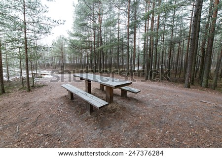 tourist trail in winter forest with snow covered trees in country - stock photo