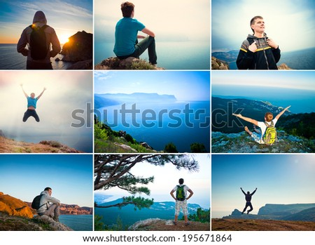 Tourist traveler in the mountains overlooking the sea, collage - stock photo