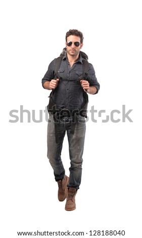 tourist with backpack and sunglasses on white background - stock photo
