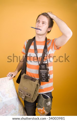 tourist with map - stock photo