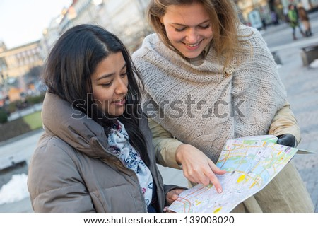 Tourist with Map in Prague - stock photo