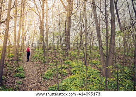 Tourist with red backpack climbing hill in forest in summer. Freedom and close to nature concepts.