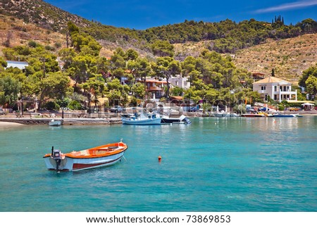 Touristic area on Poros, Greece - stock photo