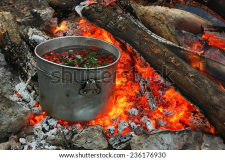 Touristic bowler on burning coals. Cooking hot drinks from the hips and forest berries on the touristic fire. - stock photo