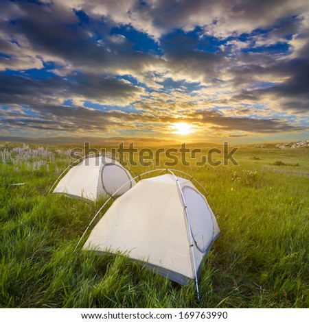touristic camp at the evening - stock photo