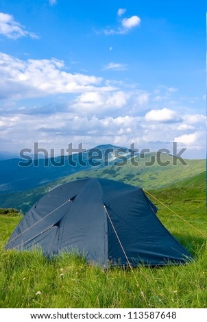 touristic camp in a mountains - stock photo