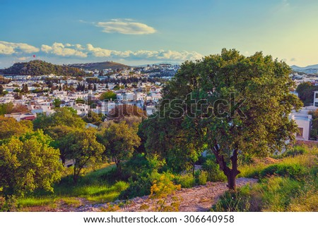 Touristic place Bodrum town in summer Turkey - stock photo