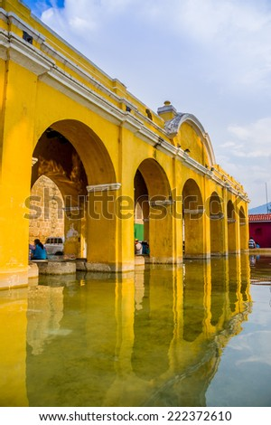 touristic spot La union water tank in antigua guatemala - stock photo