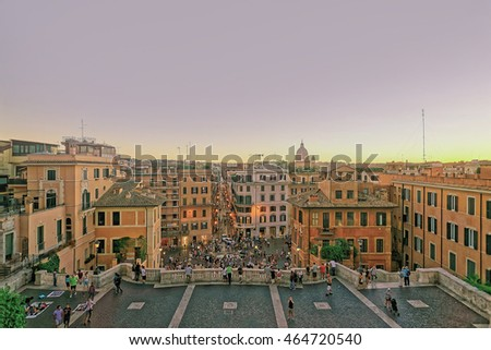 Tourists and Spanish Steps of Square of Spain in Rome, the capital of Italy. Specially toned in vintage style