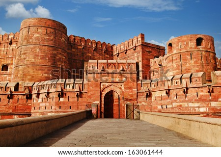 Tourists at entrance to Agra Fort, Agra, Uttar Pradesh, India - stock photo