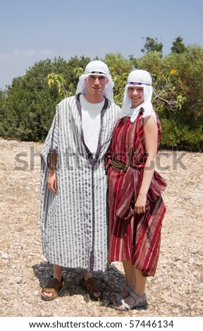 Tourists dressed in berber clothing in Tunisia