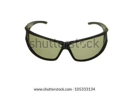 Tourists equipment. Eye-glasses on white background. Necessary articles for happy holidays