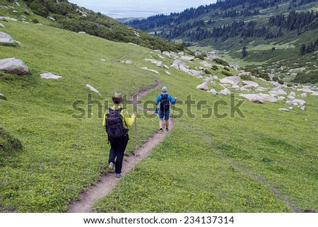 Tourists going on a mountain track with backpacks against a green grass