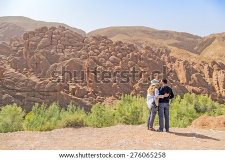 Tourists in Dades Gorges, Morocco - stock photo