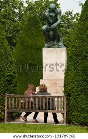 tourists in Rodin Museum in Paris - stock photo