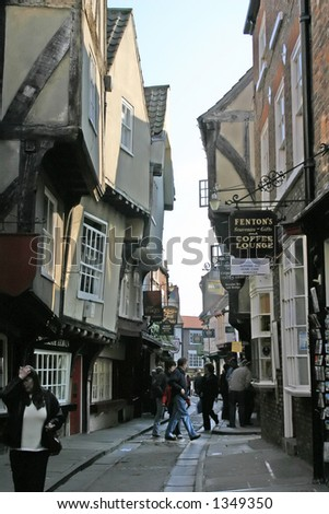Tourists in The Shambles York - stock photo