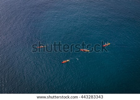 Tourists kayaking in the Adriatic sea from bird view