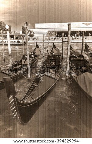 Tourists travel on gondolas at canal Venice, Italy . Gondola trip is the most popular touristic activity in Venice. Old style, sepia - stock photo