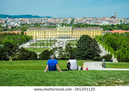 Tourists visiting famous Schonbrunn Palace in Vienna, Austria - stock photo