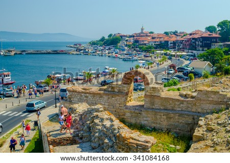 Tourists visiting the churches and the ruins of  Old Town Nessebar, Bulgaria, Black sea. UNESCO World Heritage Site. Sep 25, 2015 Nessebar Bulgaria
