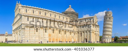 Tourists visiting the famous leaning tower, PISA, ITALY