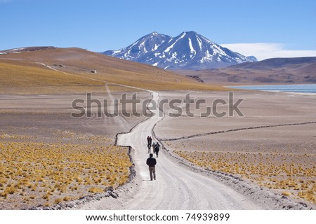 Tourists walking in chilean high plateau - stock photo