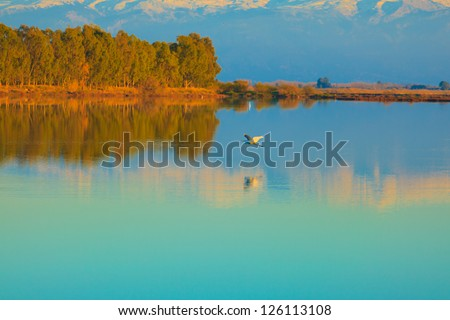 Tourlida Greece, mountains view with reflections on water Central Greece