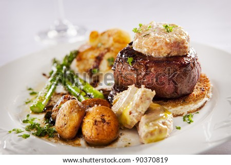 Tournedos Rossini (french steak dish with foie gras and croutons)