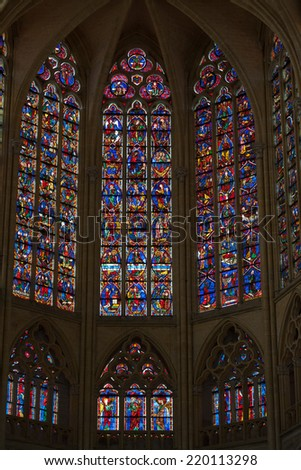 TOURS, FRANCE - JUNE 24, 2013: Stained glass windows of Saint Gatien cathedral in Tours, France.